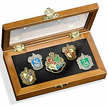 Hogwarts House Pin - Five Pins in Display Case. Harry Potter Noble Collection