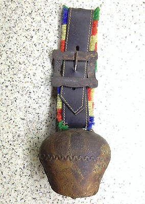 Vintage Antique Primative Handmade Cow Bell + Buckle & Strap Beautiful And Noisy