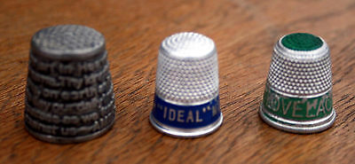 3 x metal thimble collection