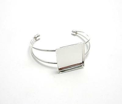 Silver plated bangle blank setting 25 mm square jewellery making resin/cabochon