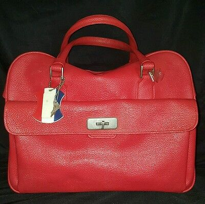 Vintage AMERICAN TOURISTER 1960s  Red Faux Leather Carry On Tote Travel Luggage