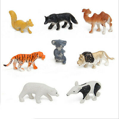 New 8Pcs/Set Camel Animal Children Simulation Zoo Tiger Wolf Fox  Model Kids Toy