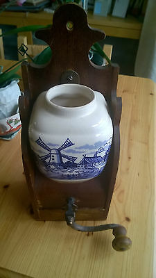 Made in Western Germany vintage Delft style wall mounted coffee grinder