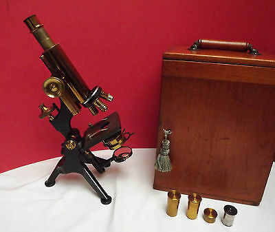 MICROSCOPE (W WATSON & SON) LACQUERED BRASS (C1870) Mahogany Case (EDINBURGH)