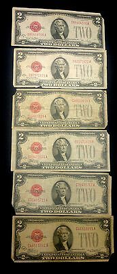Lot Of 6)1928 D&g Series 2 Bills Star Red Seal Note Circulated Condition *note*