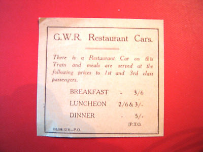 Nice Vintage List Of Prices -For   G.w.r Restaurant Cars