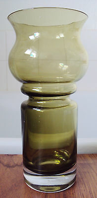 """RIIHIMAKI FINNISH 1960's ~  8"""" tall Olive Green Glass Vase  [ with paper label]"""