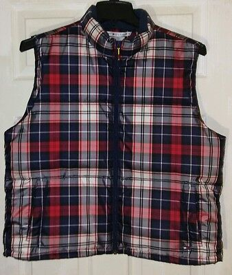 Womens Tommy Hilfiger Plaid Red White Navy Blue Puffer Vest Size X Large XL NWOT