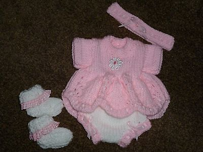 """Pretty Hand Knitted Outfit – To Fit 14-15"""" Reborn/Preemie"""