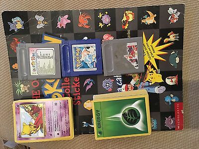 pokermon cards, games and sticker book