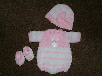 """Lovely Hand Knitted Outfit – To Fit 14-15"""" Reborn or Preemie"""