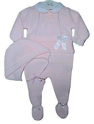 Baby Girls Pink Spanish Style 3 Piece Knitted Set/Outfit Newborn 0-3 & 3-6 Mth
