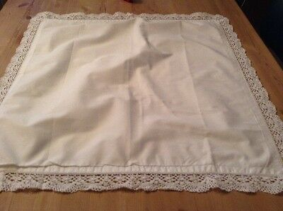Antique, French, Cotton Pillowcase, with Heavy Lace.