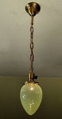 AWESOME! Antique Pendant Ceiling Light Fixture w/Optic Vaseline Shade RESTORED!