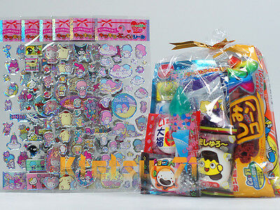 Hello Kitty Sanrio Stickers 6 sheets Toy with Japanese Candy Snack Assorted set