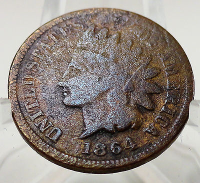 1864 bronze no L Indian head cent, #64850