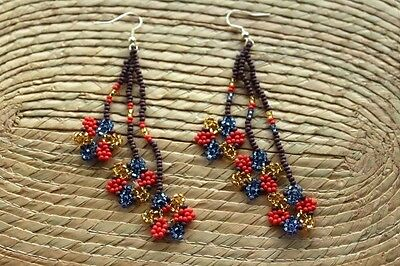 Unique Mexican Huichol Art Beaded Earrings- Jewelry Hand Made.F15