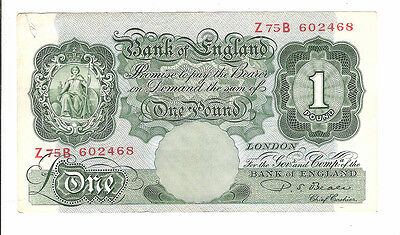 Banknote of england one pound note PS. BEALE. serial no. Z75B