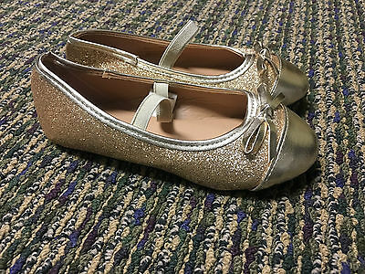 NEW Chatties Gold Glitter Flats Sparkle Shoes Toddler Girls 11 12