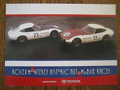 1967 Toyota Shelby 2000GT Information Sales Card  From Rolex Historic Auto Race