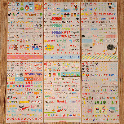 New Cute 6 Sheet Paper Stickers for Diary Scrapbook Wall Phone Decor Skin