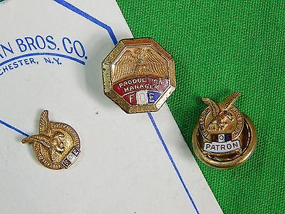 Vintage US Bastian Bros Co. Set of 3 Small Fraternal Order of Eagles Badge Pin