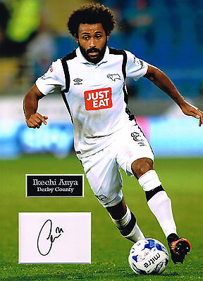 Ikechi ANYA SIGNED Autograph 16x12 Photo Mount AFTAL COA Derby County