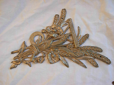 ANTIQUE FRENCH SILVERED BRONZE PEDIMENT,LOUIS 16 STYLE,LATE 19th CENTURY.