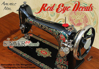 --  SINGER RED EYE Model 66 COLOR CORRECT!!!!! Sewing Machine Restoration DECALS