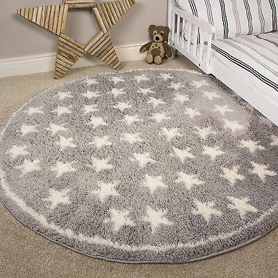 Silver Grey White Stars Kids Rugs Soft Fluffy Microfibre Childrens Bedroom Rugs