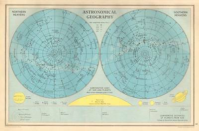 ANTIQUE MAP 1947 Bartholomew ASTRONOMICAL GEOGRAPHY Northern & Southern Heavens