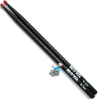 Vic Firth NOVA 5B Drum Sticks in Black - Red Nylon Tip