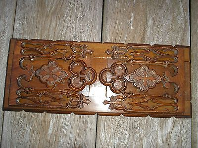 Antique Gothic Extending / Sliding Carved Wooden Bookshelf / Church Bookends