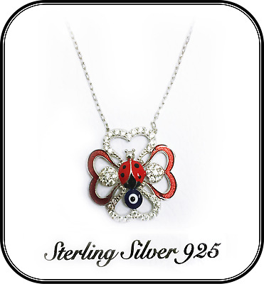 925 Sterling Silver Lady Bug Pendant Women's Evil Eye Necklace #9922