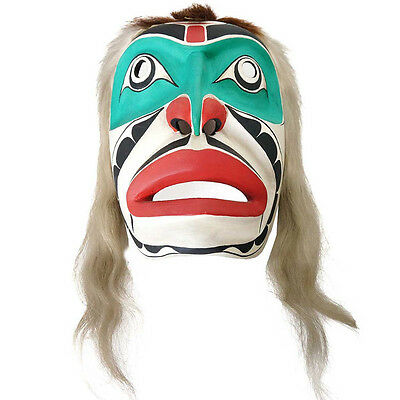 Vintage Northwest Coast Red and Green Painted Carved Wooden Mask