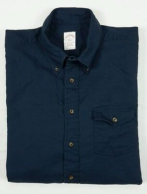 Brooks Brothers Mens Regular Fit Solid Navy Blue Long Sleeve Button Shirt Large