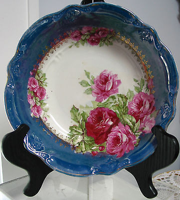 """Antique/Vintage """"Tree Crowns"""" Germany Bowl Blue Luster Roses 9 1/2"""" Beautiful"""