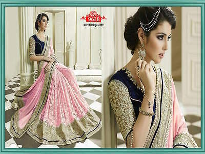 BOLLYWOOD INDIAN PARTY WEAR PAKISTANI SAREE DESIGNER WOMEN WEDDING SARI 4075 Pi