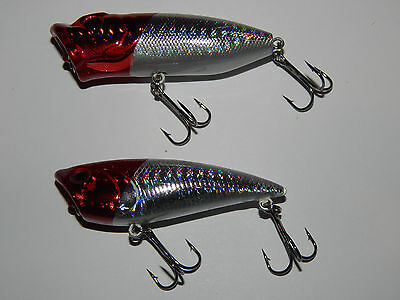 Pike Perch Zander Bass Fishing Lure Surface Popper Twin Pack Red Heads
