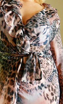 free P&P Italian neglige dressing gown robe pink leopard  long 8 10 12 M new