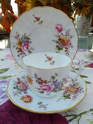 Lovely Vintage Royal Crown Derby China Trio Tea Cup Saucer Plate Posies XXXI