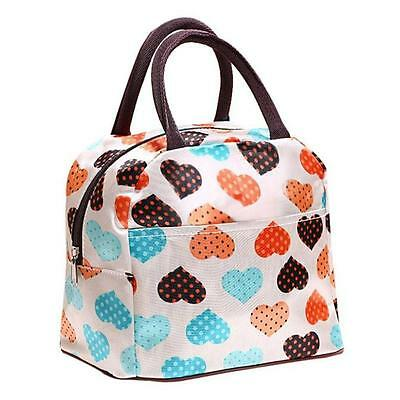 Portable insulated Picnic Lunch Bag Tote Heart Zipper Organizer LunchBox Bag