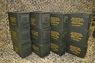 * 12 Pack * Combo 50 Cal / 308 Cal AMMO CAN VERY GOOD CONDITION * FREE SHIPPING*