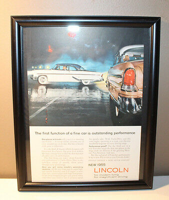 """1955 Lincoln Automobile Advertisement 6 5/8"""" x 10.25"""" in Glassed Frame"""