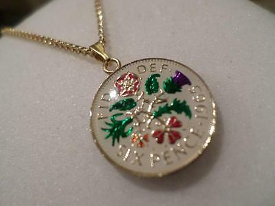Vintage Enamelled Sixpence Coin 1965 Pendant & Necklace. Great Birthday Gift