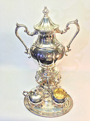 Antique Silverplate Sheridan Coffee Samovar, Stand, Cream and Sugar Service