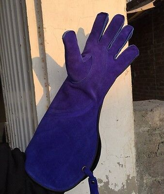 Falconry Suede Leather Blue hunting gloves