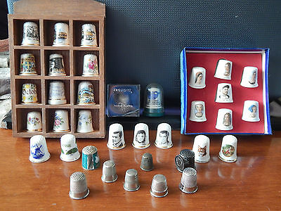 36X Vintage Thimbles Old Henry VIII & Wives Vivien Leigh James Stewart Loch Ness