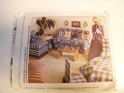 Pattern McCall's #8140 Barbie Doll House Furniture Sofa Canopy Bed Table UNCUT