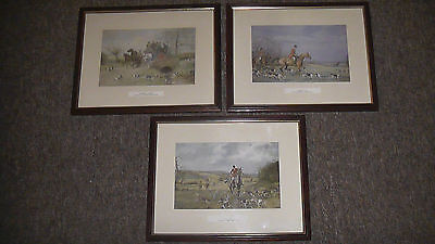 "Three Hunting Prints. ""Full Cry. Coming Out. Crossing a Bridge""."